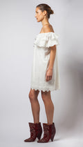 Cotton Ruffle Off The Shoulder Dress