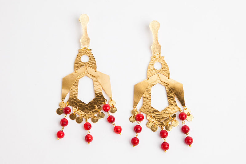 Tribal 24K Gold Coral Earrings