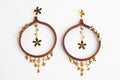 Cascading Wooden Hoop 24k Gold Plated Flower Earrings