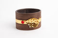Wooden Bangle with 24K Gold & Coral