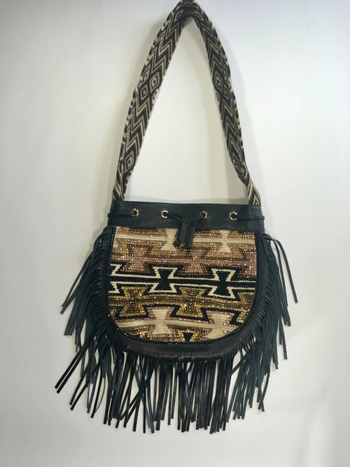 Crocheted Leather Fringe and Crystal Embellished Shoulder Bag (Sold Out - Pre Order)