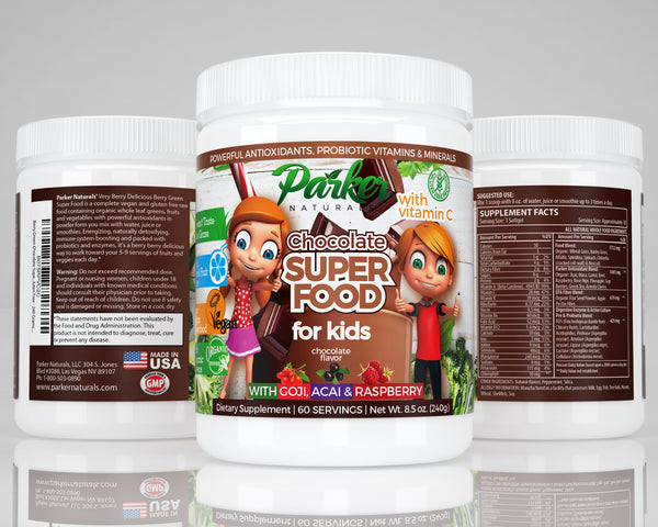 Berry Green Chocolate Superfood Powder For Kids with Organic Greens & Fruits - Parker Naturals - Journey to a better you.