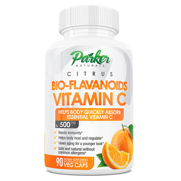 Rich Citrus Bio-Flavanoids Tinnitus Vitamin C 500mg 90ct. Supports Less Frequent Ear Ringing, Strengthens Immunity, Anti Aging Formulation, Non-Acidic Easy on Digestion