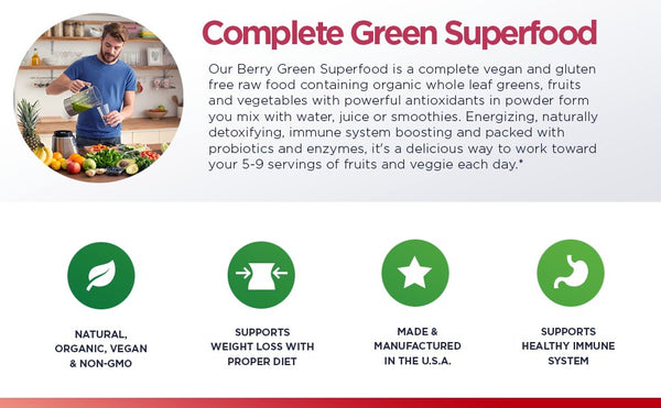 Berry Green Superfood with Goji, Acai & Raspberry, Raw Organic Nutrition