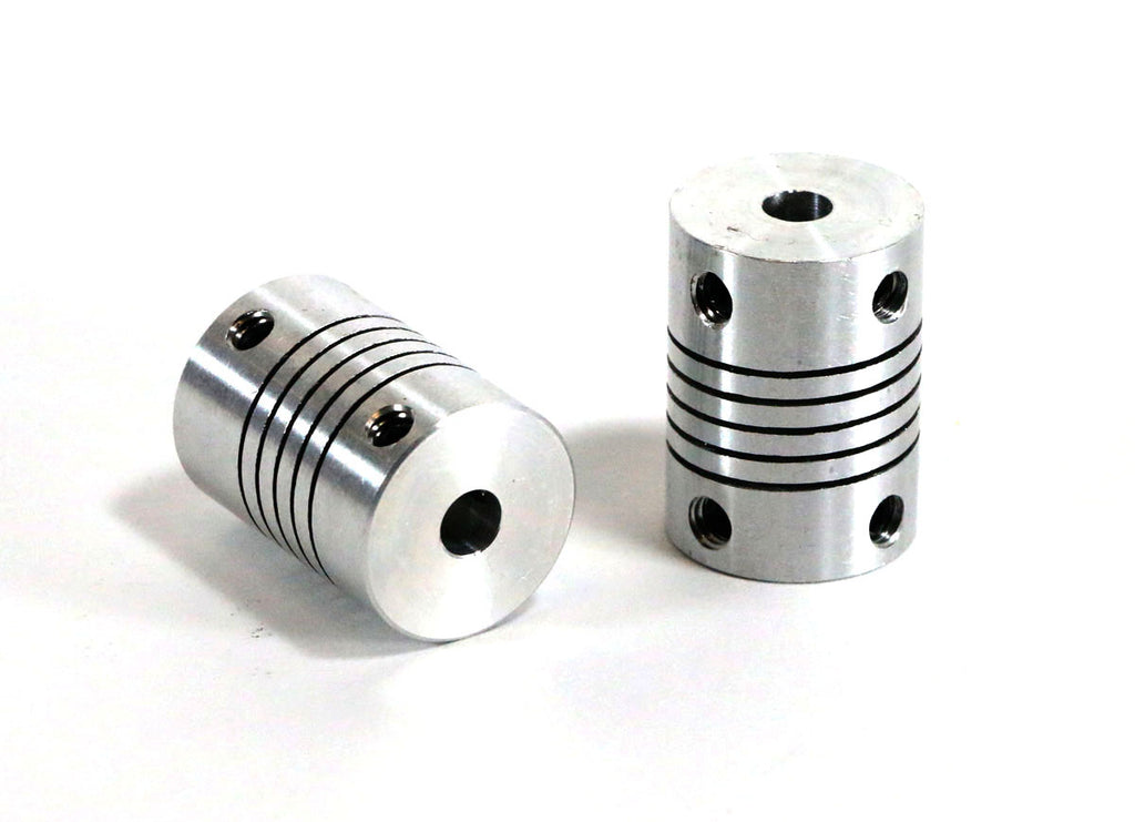 Helical Shaft Couplers, M5 to M6 35, Set of 2
