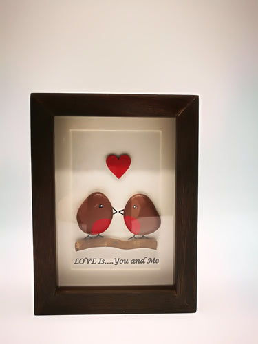 Robin Love Couple - Stone Picture (can be personalised) - Magical Moments Ireland