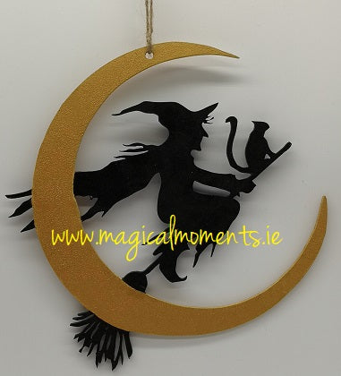 Witch, Cat & Moon Halloween Decoration - Magical Moments Ireland