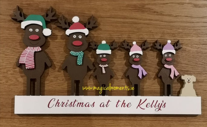 Personalised Christmas Sign - Reindeer Family - Magical Moments Ireland