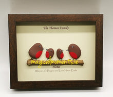 Robin Family Frame - Hand Painted Stone Picture (personalised) - Magical Moments Ireland