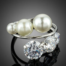 Load image into Gallery viewer, 3 Imitation Pearls and Clear Cubic Zirconia Stones Mix Symmetrical Ring - KHAISTA Fashion Jewellery