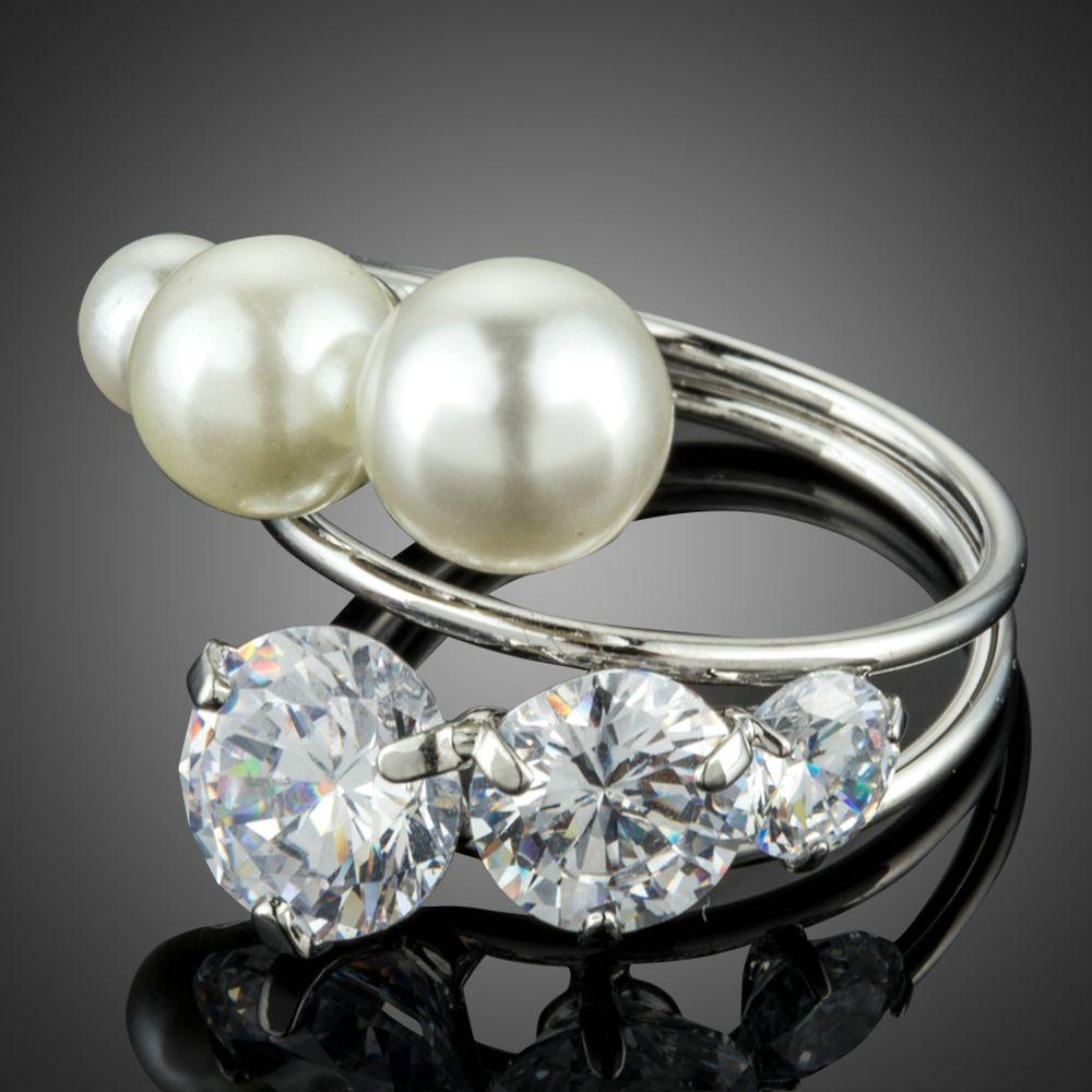3 Imitation Pearls and Clear Cubic Zirconia Stones Mix Symmetrical Ring - KHAISTA Fashion Jewellery