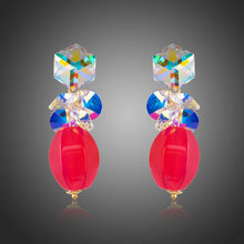 Load image into Gallery viewer, Cube Stellux Austrian Crystal Drop Earrings -KPE0272