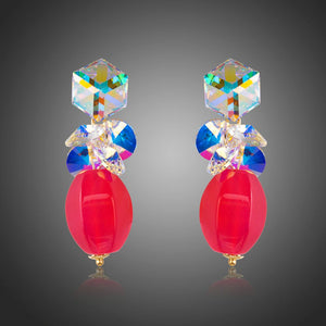 Cube Stellux Austrian Crystal Drop Earrings -KPE0272