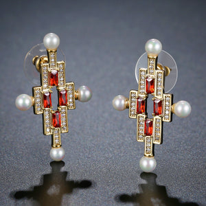 Red Cross Pearl Stud Earrings -KPE0387