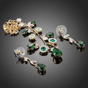 Green Cubic Zirconia Necklace + Earrings Sets -KJG0147