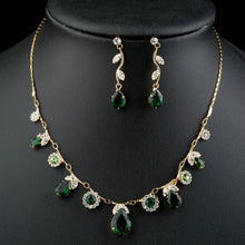 Load image into Gallery viewer, Green Cubic Zirconia Necklace + Earrings Sets -KJG0147