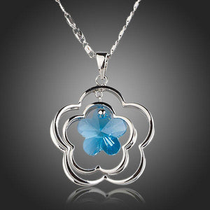 Light Blue Flower Necklace KPN0145
