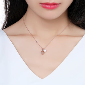 Pearl Round Ball Cubic Zirconia Pendant Necklace KPN0245