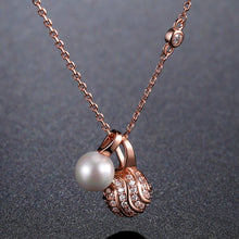 Load image into Gallery viewer, Pearl Round Ball Cubic Zirconia Pendant Necklace KPN0245