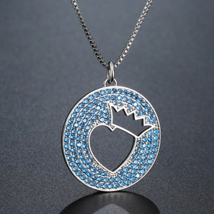 Light Blue Crown Love Heart Necklace KPN0272