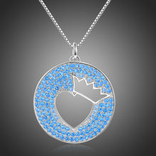 Load image into Gallery viewer, Light Blue Crown Love Heart Necklace KPN0272