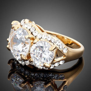Golden Cubic Zirconia Ring -KFR0011