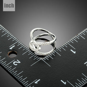 Silver V Letter Intersect Ring