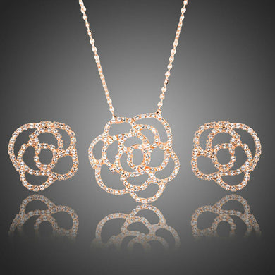 AAA CZ Flower Stud Earrings and Pendant Necklace Set - KHAISTA Fashion Jewellery