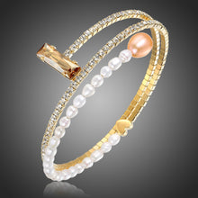 Load image into Gallery viewer, Adjustable Champagne Pearl Bangle -KBQ0116 - KHAISTA Fashion Jewelry