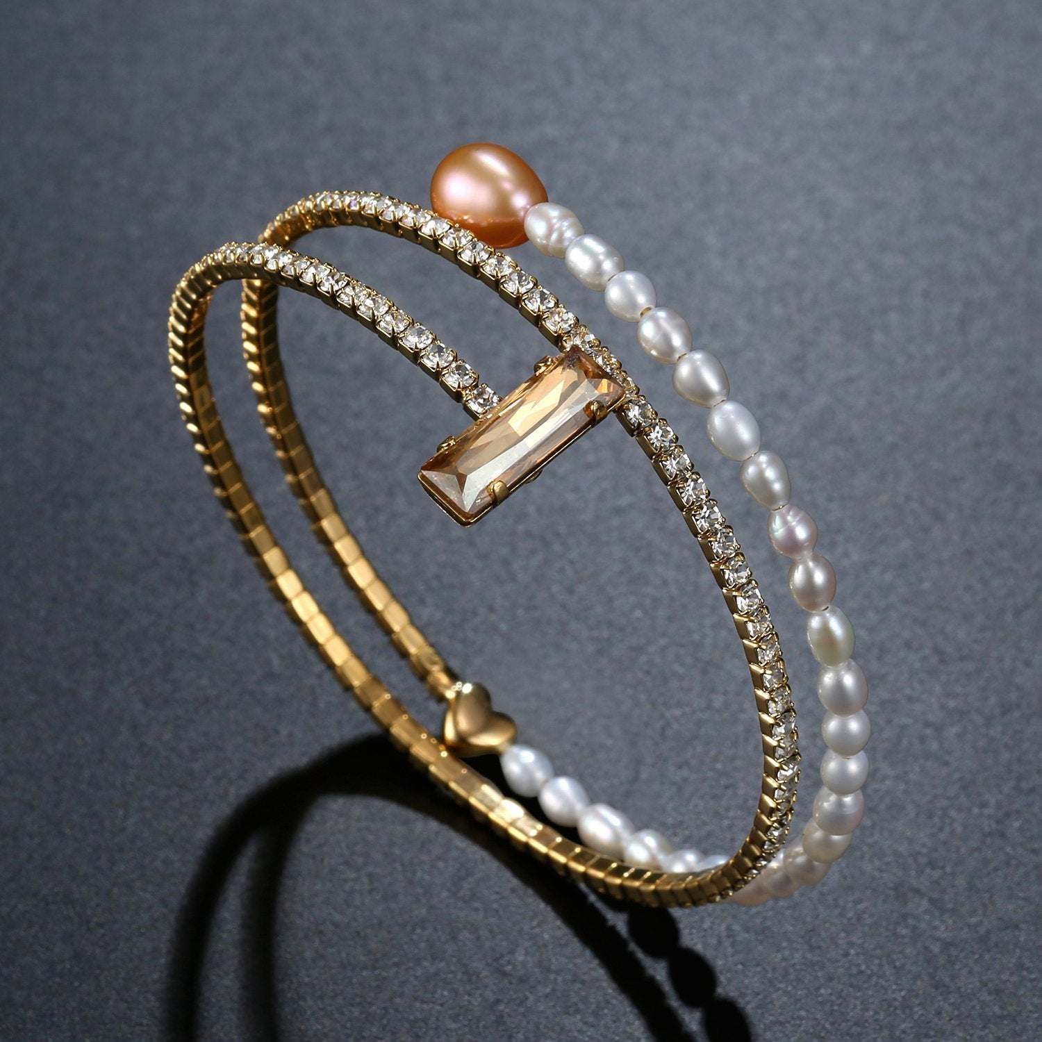 Adjustable Champagne Pearl Bangle -KBQ0116 - KHAISTA Fashion Jewelry