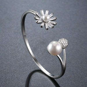 Adjustable Pearl Flower Bangle -KBQ0107 - KHAISTA Fashion Jewelry