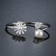 Load image into Gallery viewer, Adjustable Pearl Flower Bangle -KBQ0107 - KHAISTA Fashion Jewelry