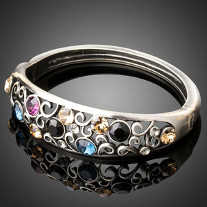 Ancient Silver Crystal Bangle -KBQ0090 - KHAISTA Fashion Jewelry