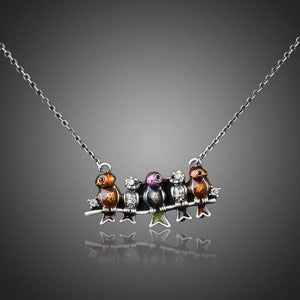 Ancient Sitting Birds Necklace KPN0062 - KHAISTA Fashion Jewellery