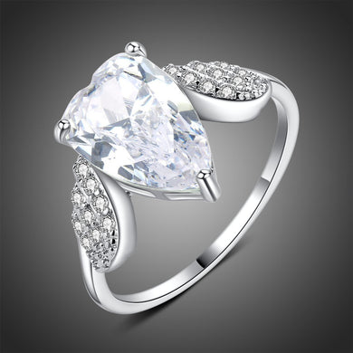 Angel Wings Pear Clear Cubic Zirconia Stone Ring - KHAISTA Fashion Jewellery