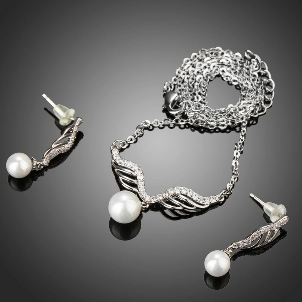 Angel Wings Pearl Jewelry Set - KHAISTA Fashion Jewellery