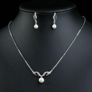 Angel Wings Pearl Jewelry Set-khaista-KJ0230-2