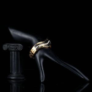 Artistic Black Wave Bangle -KBQ0081 - KHAISTA Fashion Jewelry