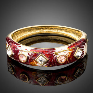 Artistic Blood Shade Cuff Bangle -KBQ0101 - KHAISTA Fashion Jewelry