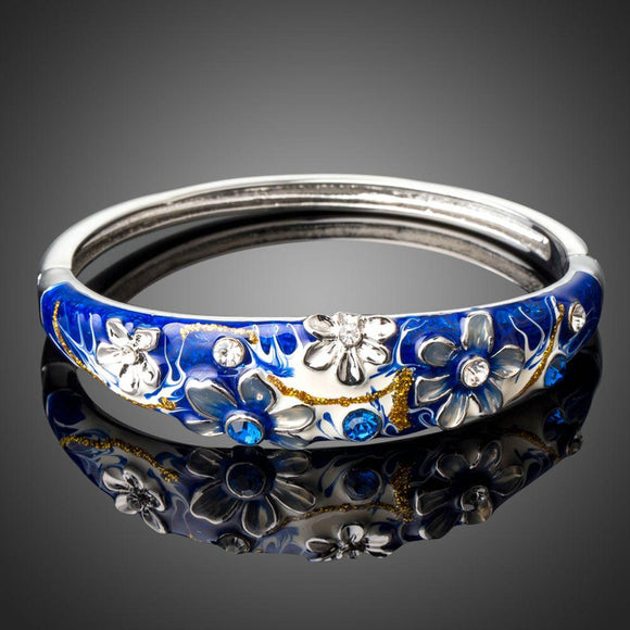 Artistic Blue Flower Bangle -KBQ0094 - KHAISTA Fashion Jewelry