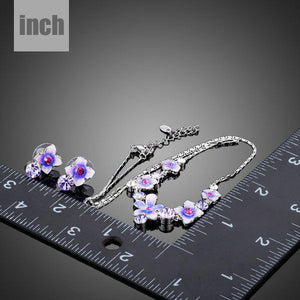 Artistic Flower Stud Earrings and Pendant Necklace Jewelry Set - KHAISTA Fashion Jewellery