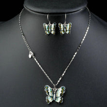 Load image into Gallery viewer, Artistic Flying Butterfly Pendant Necklace and Drop Earrings Set - KHAISTA Fashion Jewellery
