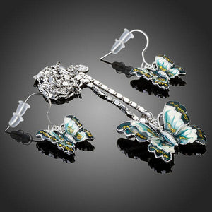 Artistic Flying Butterfly Pendant Necklace and Drop Earrings Set - KHAISTA Fashion Jewellery