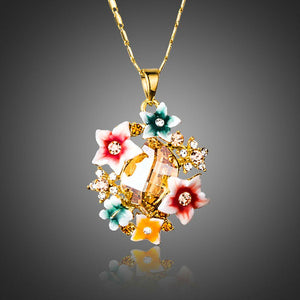Artistic Multicolour Flower Necklace KPN0174 - KHAISTA Fashion Jewellery