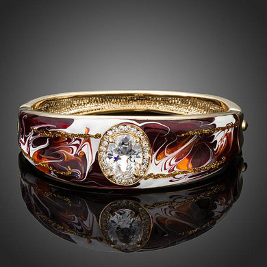 Artistic Oval Crystal Bangle - KHAISTA Fashion Jewellery