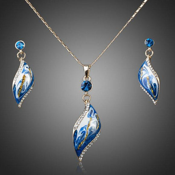 Artistic Sky Blue Jewellery Set (Drop Earrings + Necklace) - KHAISTA Fashion Jewellery