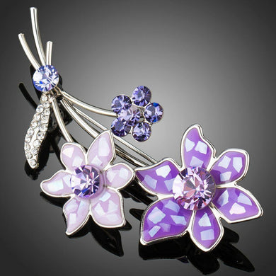 Artistic White Gold Violet Flower Brooch Pin - KHAISTA Fashion Jewellery