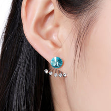 Load image into Gallery viewer, Big Blue Crystal Stud Earrings -KPE0313 - KHAISTA Fashion Jewellery