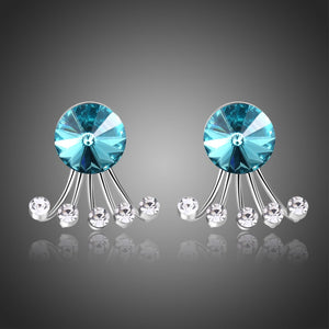 Big Blue Crystal Stud Earrings -KPE0313 - KHAISTA Fashion Jewellery
