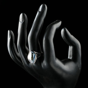 Big Blue Crystals Finger Ring - KHAISTA Fashion Jewellery